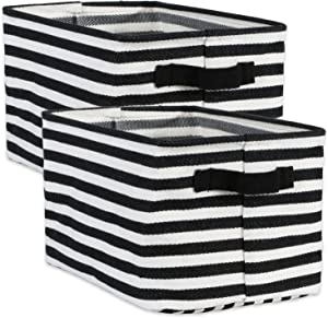DII Cabana Stripe Collapsible Waterproof Coated Anti-mold Cotton Rectangle Basket Bin, Perfect For Laundry Room, Bedroom, Nursery, Dorm, Closet, and Home Organization, Set of 2 Small - Black