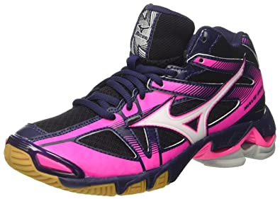 Mizuno Wave Hurricane Mid Wos, Chaussures de Volleyball Femme, Multicolore (Peacoat/White/Divablue), 38.5 EU