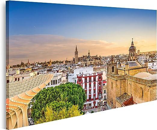 islandburner Cuadro en Lienzo Sevilla España Skyline Old Quarter Dusk Cuadros Decoracion Impresión Salon: Amazon.es: Hogar