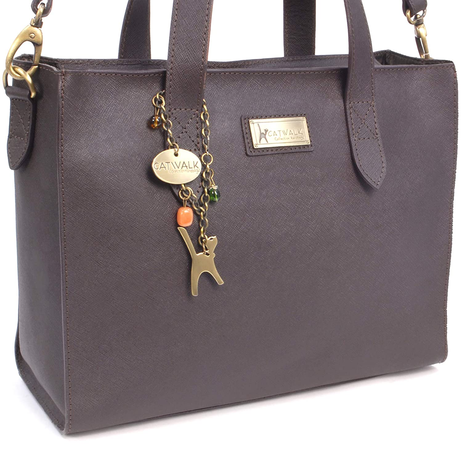 b916403fed71 Catwalk Collection Handbags - Women's Large Leather Tote/Shopper - Shoulder  Bag/Cross Body With Extra Detachable Adjustable Strap - Water Resistant ...