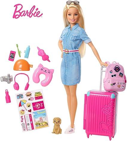 luxe à bas prix Barbie in Viaggio, Bambola Bionda con Cucciolo, Valigia che si Apre,  Adesivi e Accessori, Giocattolo per Bambini 3 + Anni, FWV25