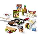 "Melissa & Doug Fill & Fold Taco & Tortilla Set, Sliceable Wooden Mexican Play Food (43 Pieces), 12.5"" H x 3.5"" W x 16.25"" L, Multicolor"