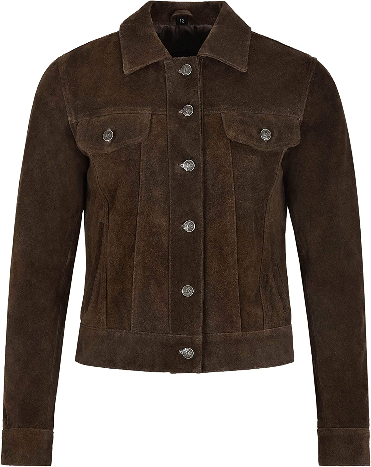 Carrie CH Hoxton Womens Trucker Real Leather Jacket 100/% Suede Casual Fashion Shirt Jacket 1680