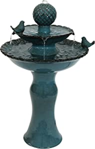 Sunnydaze Resting Birds Outdoor Water Fountain - Ceramic 2-Tier Waterfall Fountain & Backyard Water Feature for Patio, Yard, & Garden - 27 Inch