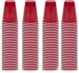 DecorRack Party Cups 12 oz Reusable Disposable Cups for Birthday Party Bachelorette Camping Indoor Outdoor Events Beverage Drinking Cups (Red, 120)