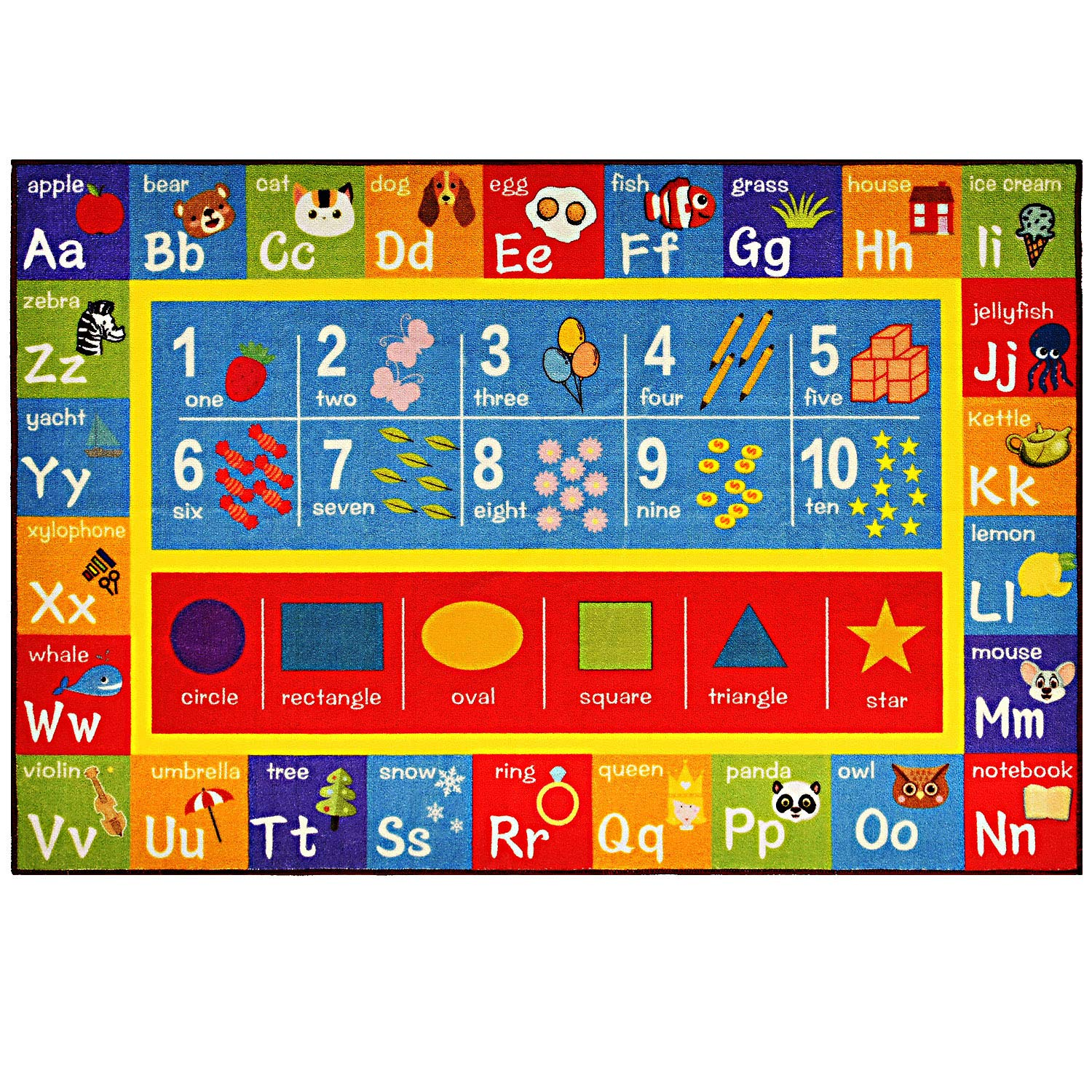 FLOWood kids Carpet Children Learning Rug with ABC,Numbers and Shapes,Educational Area Rug Carpet For Bedroom and Playroom,Safe and Fun Playtime Rug for Kids(40