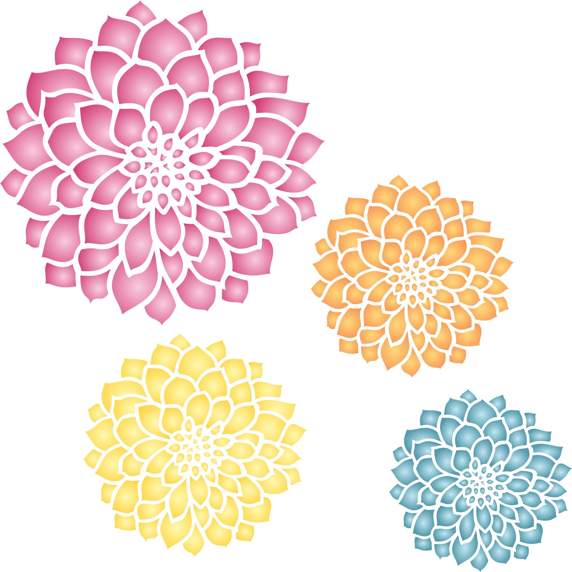 Zinnia Mural Stencil - (size 14'' x 14'') Reusable Wall Stencils for Painting - Best Quality Mural Wall Art Ideas - Use on Walls, Floors, Fabrics, Glass, Wood, and More...