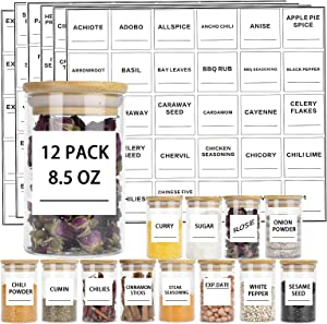 Glass Jars Set, 8.5oz 12 Piece Spice Jar with Bamboo Airtight Lids and 180 Minimalist Square Spices Labels, Small Thicken Food Seasoning Cereal Storage Containers for Home Kitchen, Tea, Herbs, Sugar(250ml)