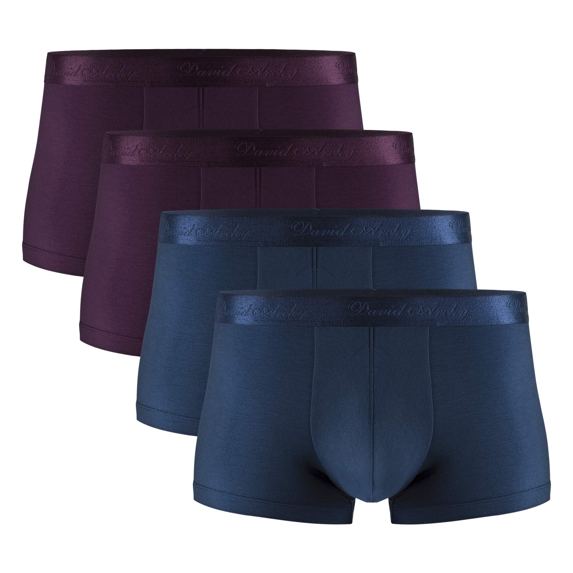 David Archy Men's 4 Pack Underwear Micro Modal Ultra Soft Trunks (S, Wine/Navy Blue) by David Archy