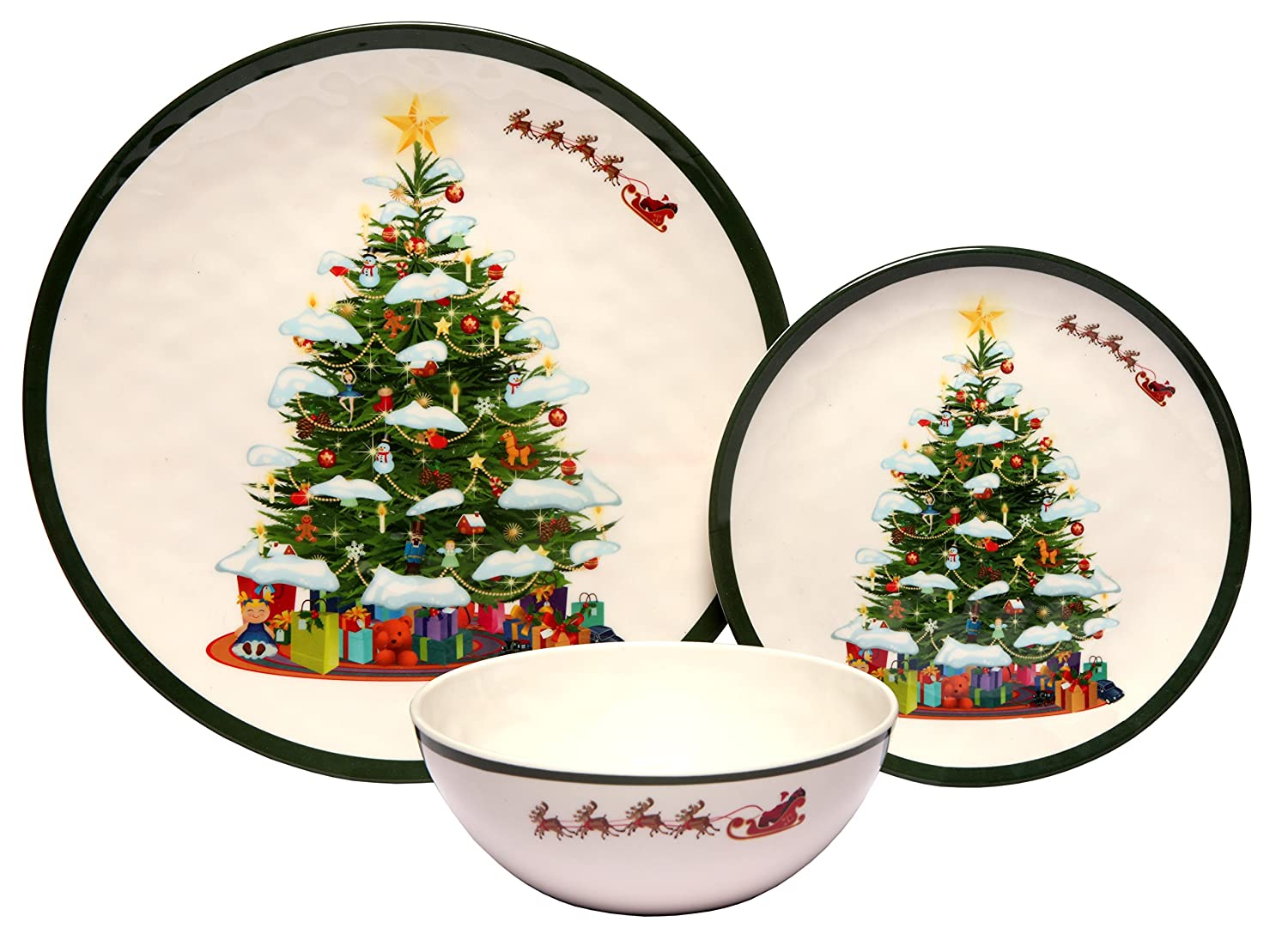 Melange 12-Piece 100% Melamine Dinnerware Set (Christmas Tree Collection ) | Shatter-Proof and Chip-Resistant Melamine Plates and Bowls | Dinner Plate, Salad Plate & Soup Bowl (4 Each) Ruby Compass Melamine 612409792952
