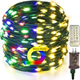 DEVPLY Christmas String Lights Outdoor Indoor - 300 LED 110Ft 9 Modes End to End Plug Xmas Lights - Multi Color Fairy Lights