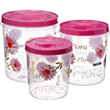 Nayasa Store-in Plastic Container, 3 Pieces, Pink