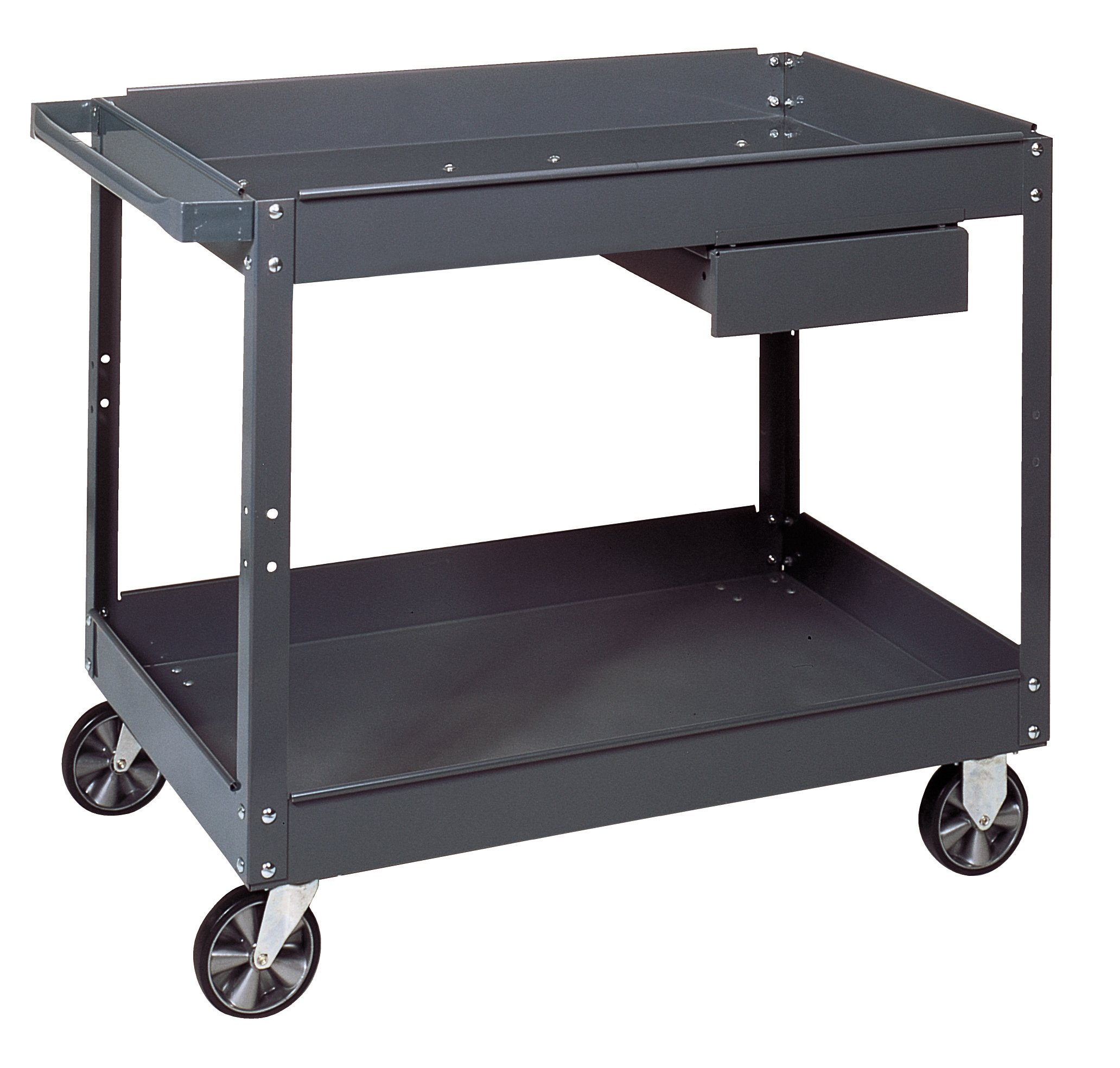 Edsal SC2116 Steel Commercial Service Cart with 1 Drawer, Material Handler, Powder Coated Finish, Industrial Gray Color, 500 lb. Capacity, 30'' Length x 16'' Width x 32'' Height, 2 Shelf