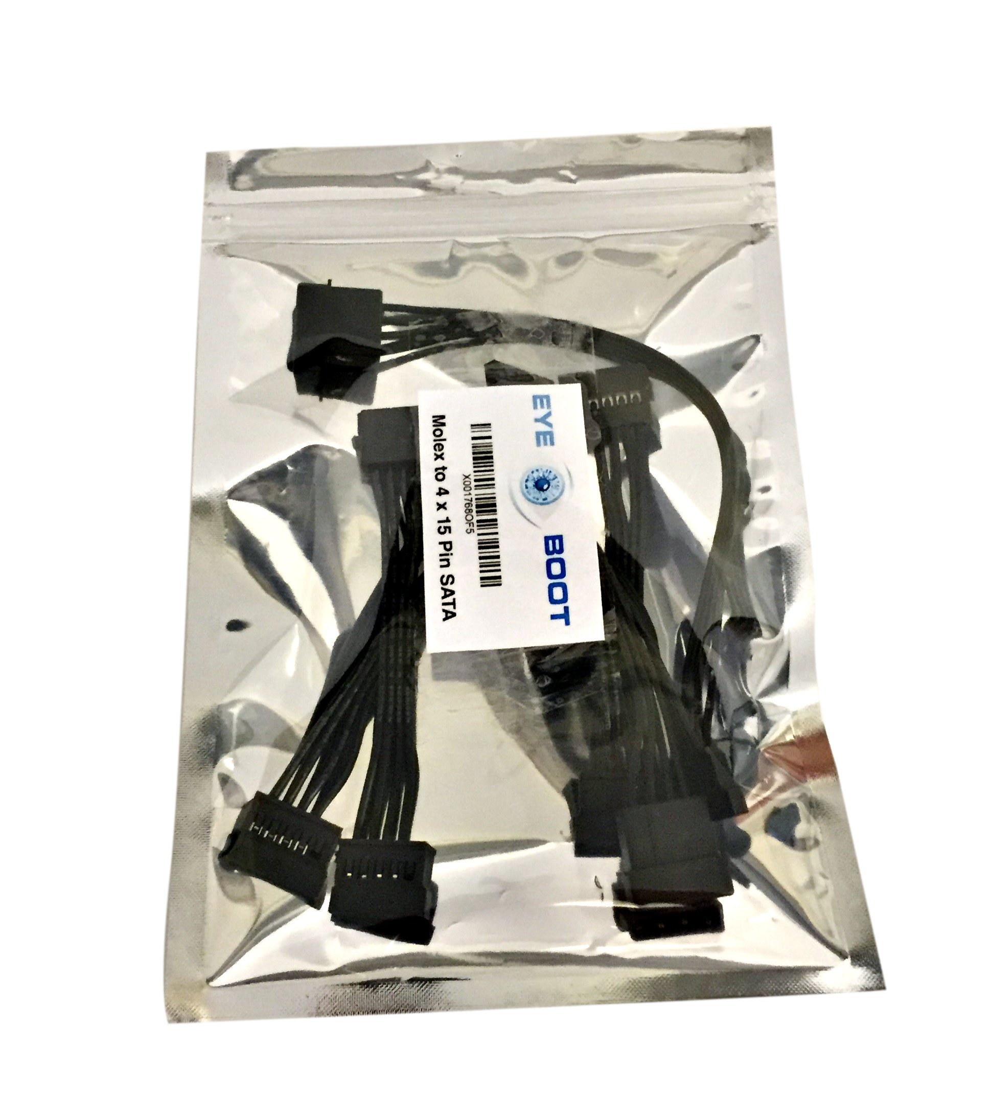 (2 pack) 4 Pin IDE Molex to 4 x 15 Pin SATA Power Y-Cable Adapter Splitter by Eyeboot (Image #5)