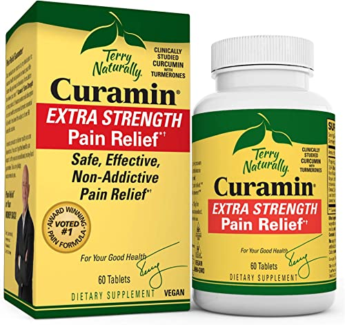 Terry Naturally Curamin Extra Strength 2 Pack – 60 Vegan Tablets – Non-Addictive Pain Relief Supplement With Curcumin From Turmeric, Boswellia DLPA – Non-GMO, Gluten-Free – 40 Servings