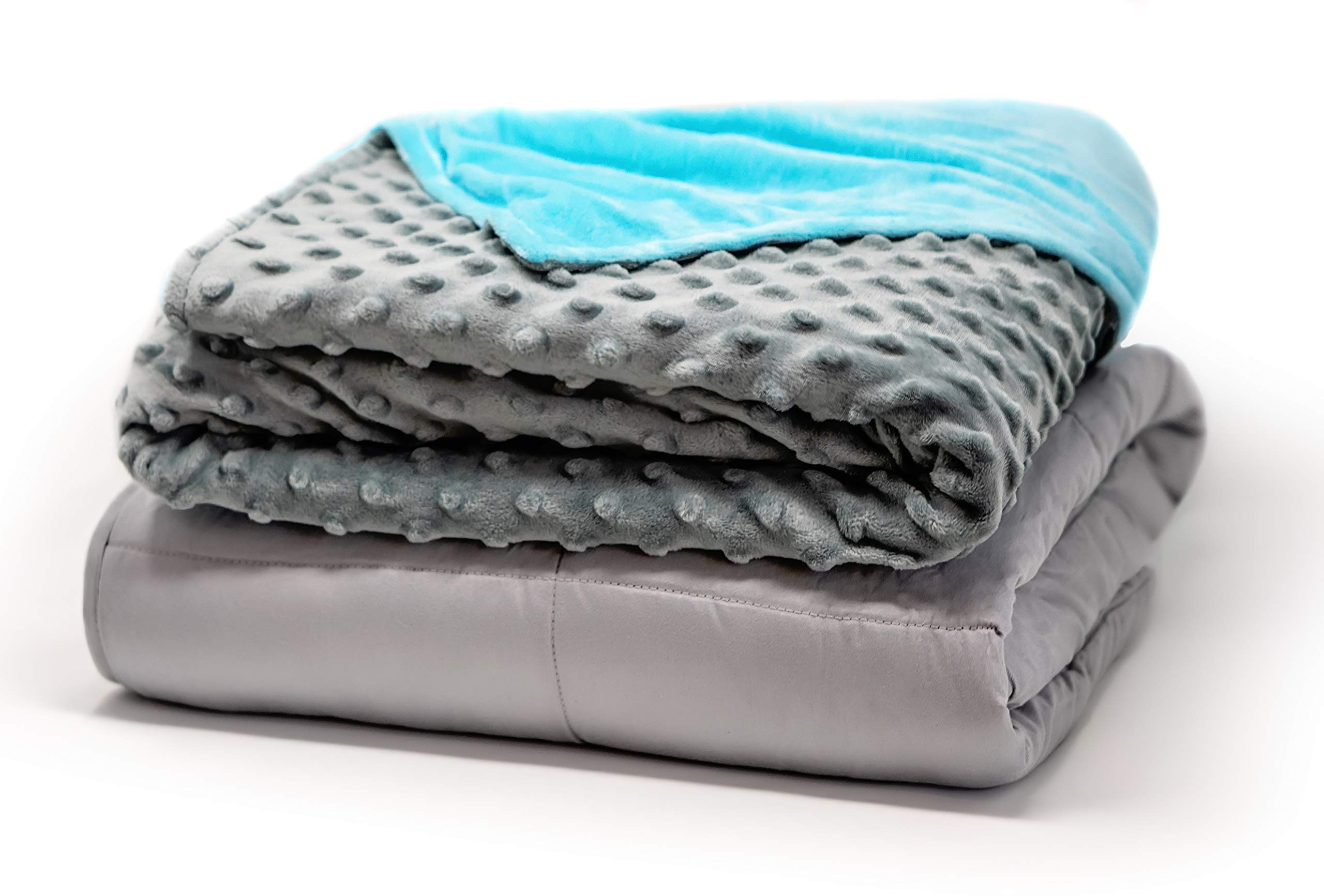 Soothing Company Weighted Blanket for Kids | Weight: 8 lbs | Size: 41''x60 Cotton with Glass Beads | Child Heavy Comforter with Removable Soft Minky Duvet Cover | Blue/Grey by Soothing Company