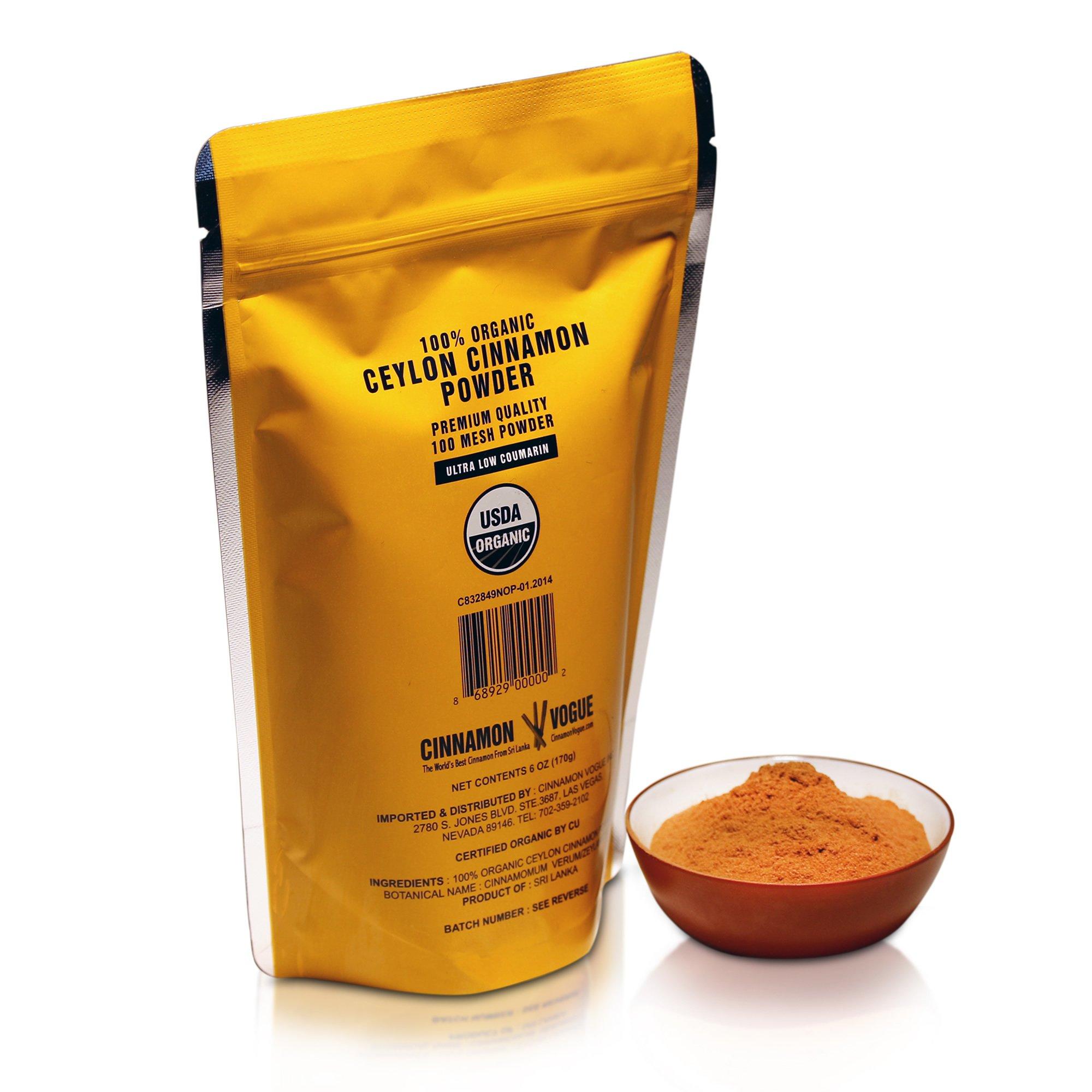 Ceylon Cinnamon Powder – 6 oz. (100% USDA Organic) - Ultra Premium Fine 100 Mesh Powder, Salt Free, Non irradiated, Low Coumarin by Cinnamon Vogue (Image #6)