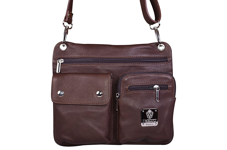 I Medici Firenze Italian Dark Brown Soft Sauvage Leather Unisex Multi Pocket Cross Body Bag, Shoulder Bag, Handbag