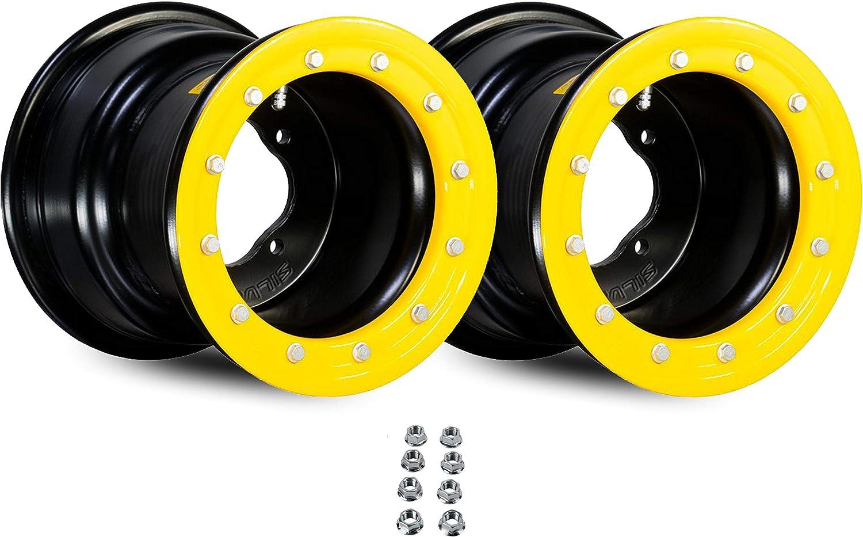x2 NEW - Goldspeed 10 Inch ATV Racing Front Beadlock Rings /& Bolts Yellow