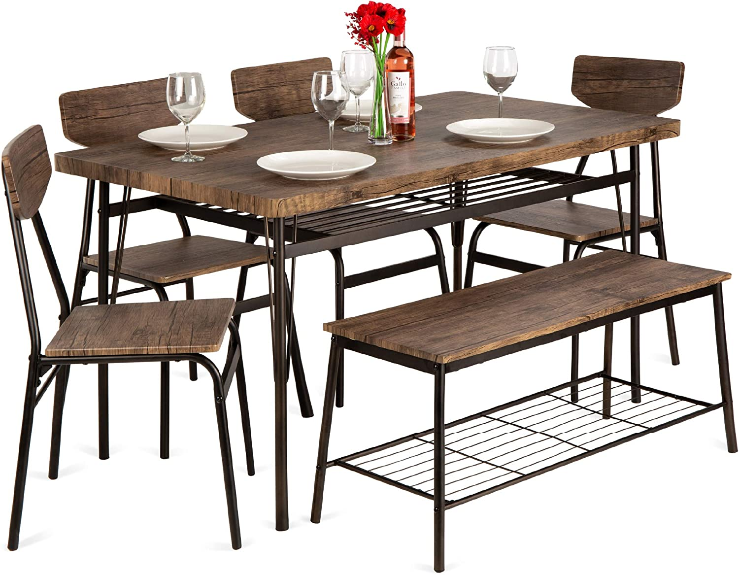 Best Choice Products 6 Piece 55in Wooden Modern Dining Set For Home Kitchen Dining Room W Storage Racks Rectangular Table Bench 4 Chairs Steel Frame Brown Table Chair Sets