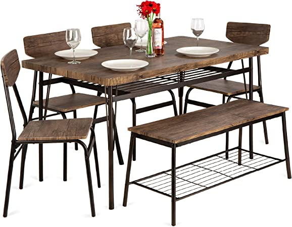 Best Choice Products 6 Piece 55in Wooden Modern Dining Set For Home Kitchen Dining Room W Storage Racks Rectangular Table Bench 4 Chairs Steel Frame Brown Table Chair Sets Amazon Com