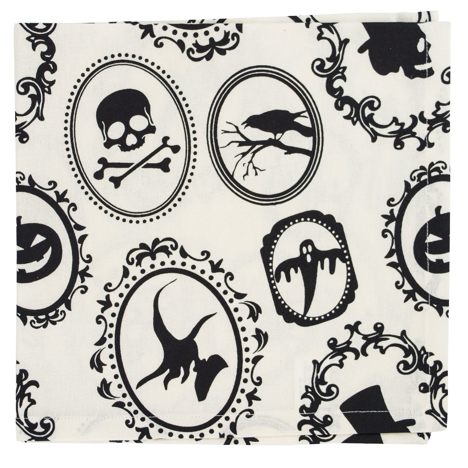 DII Oversized 20x20'' Cotton Napkin, Black & White Halloween Portrait - Perfect for Halloween, Dinner Parties and Scary Movie Nights by DII (Image #3)