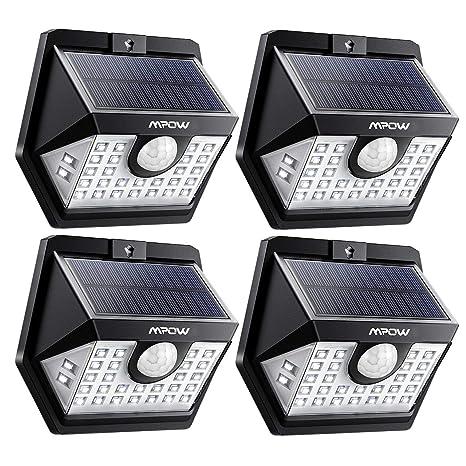 Mpow Luz Solar 3-8M Deteccion, 270° Gran Angular de Iluminación, 3 Modos Lámpara Solar,Sensor de Movimiento, Foco Solar Impermeables IP65 de Exterior ...