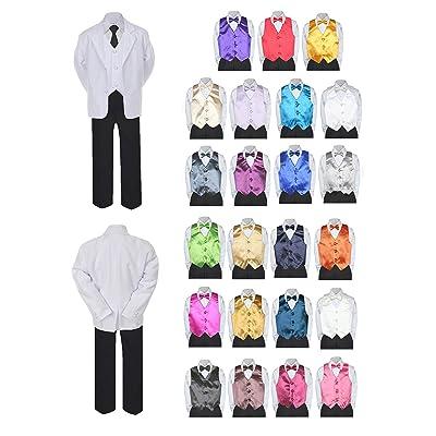 Unotux 7pc Boy Formal Necktie Black White Suit Set Satin Bow Tie & Vest Baby Sm-20 Teen