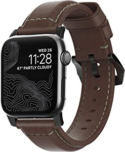 Nomad Traditional Strap for Apple Watch 40mm/38mm | Rustic Brown Horween Leather | Black Hardware