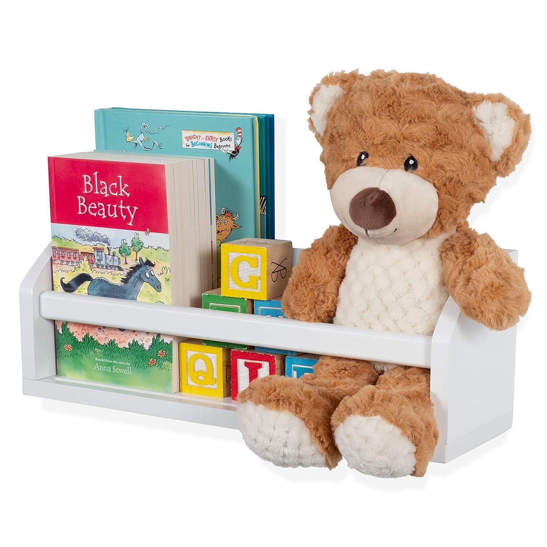 Wallniture Madrid Shelf Nursery Baby Room Wood Floating Wall Shelf White Kid's Room Bookshelf Display Decor 17 inch
