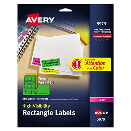 Avery Neon Laser Labels Rectangle Assorted Fluorescent Colors 1quot X 2