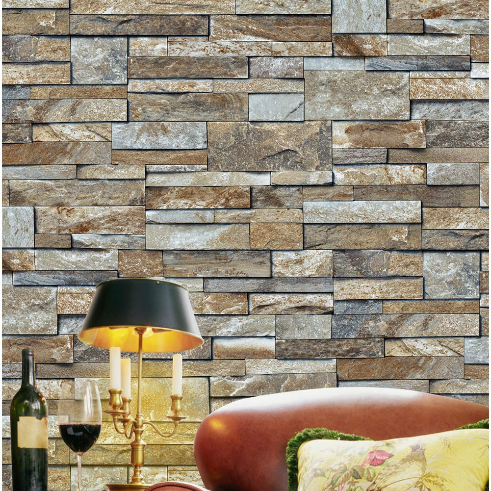 1493 Stone Brick Textured Wallpaper Roll,3D Embossed Multi Brick Blocks Wallpaper Living Room Bedroom Kitchen Bathroom Bar Wall Decoration 20.8'' x 32.8ft