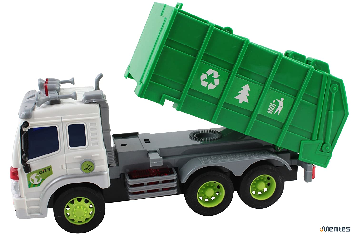 amazon com memtes friction powered garbage truck toy with lights