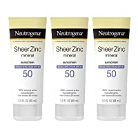 Neutrogena Sheer Zinc Oxide Dry-Touch Sunscreen Lotion with Broad Spectrum SPF 50 UVA/UVB Protection, Water-Resistant, Hypoallergenic & Non-Greasy Mineral Sunscreen, Paraben-Free, 3 fl. oz (Pack of 3)