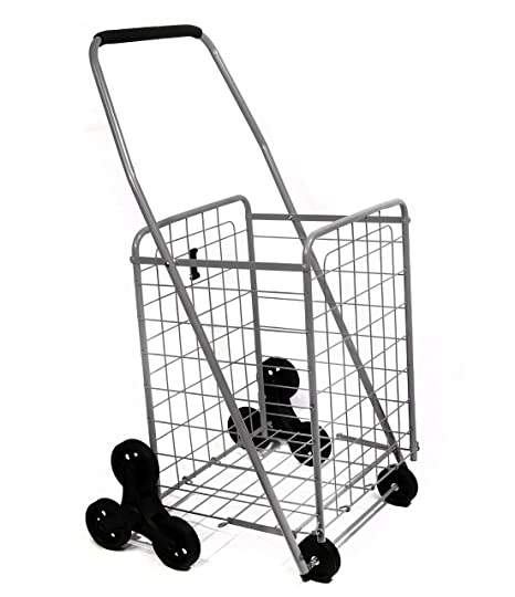 Helping Hand Deluxe Stair Climber Cart in Silver   Folding Cart Holds Up to  60 lbs - Great for Shopping, Camping, Sport Events, Much More