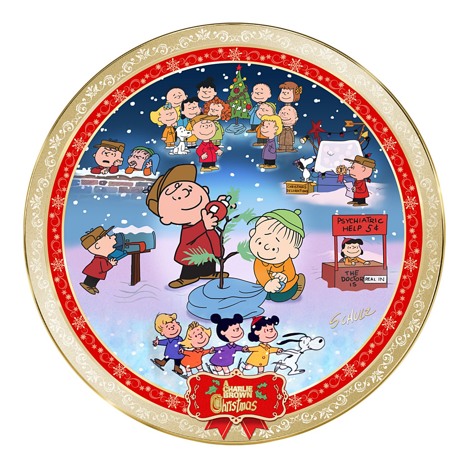 A Charlie Brown Christmas 50th Anniversary Porcelain Collector Plate by The Bradford Exchange