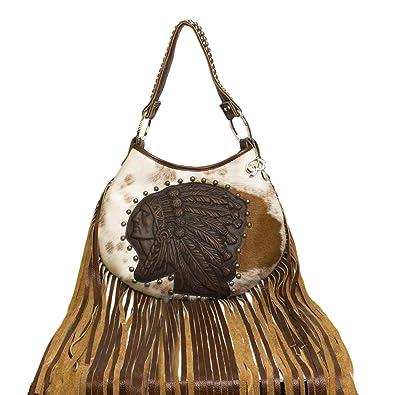 9c6b19278d71 Raviani New Leather Hobo Indian Head Long Fringe Bag W/Brindle ...