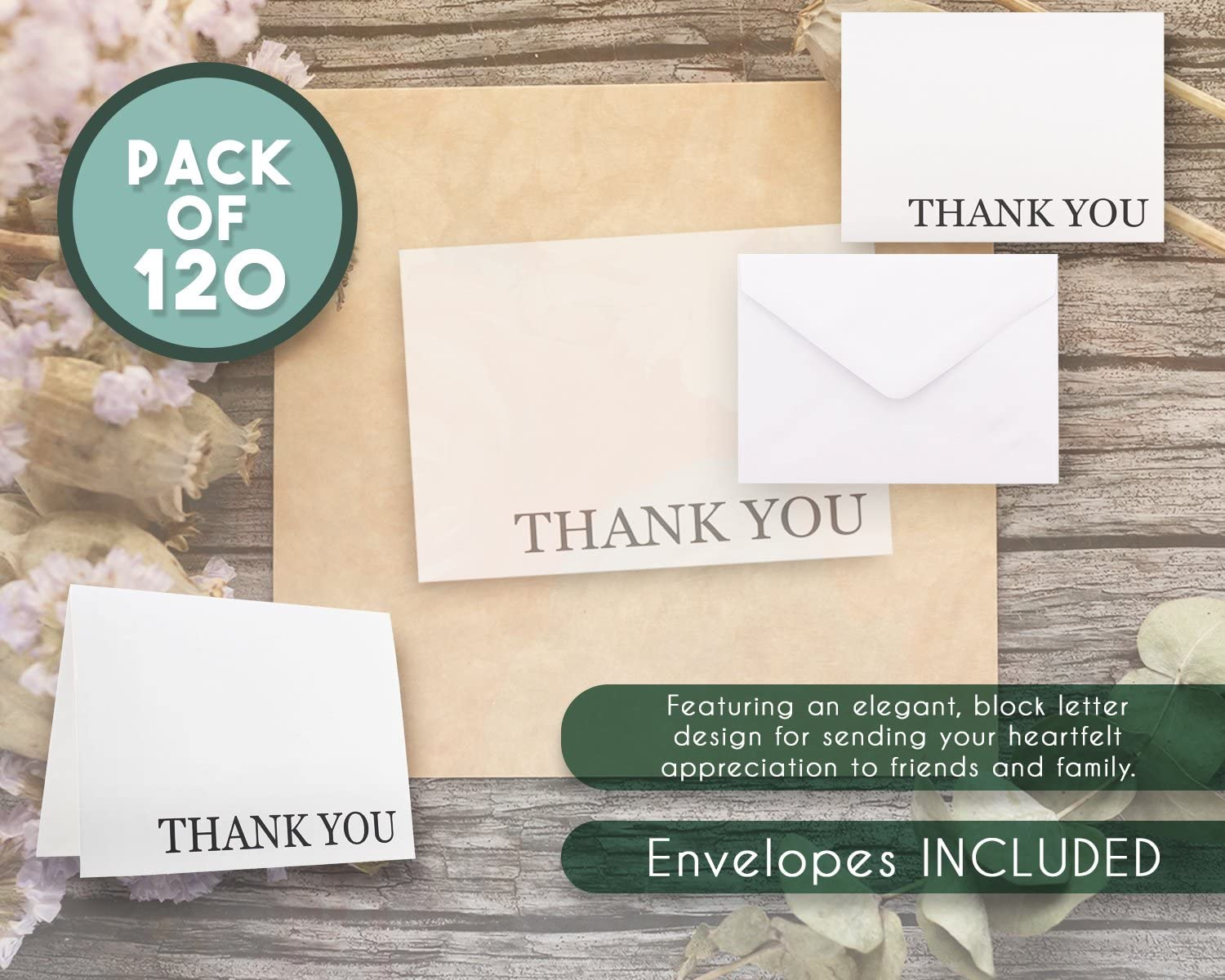 Thank You Cards Includes Thank You Cards and Envelopes Bulk Thank You Cards Set Blank on The Inside 5.125 x 3.75 Inches 120-Pack Thank You Notes White