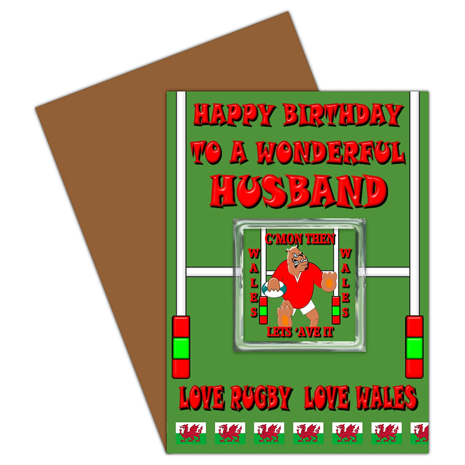 Husband Happy Birthday Card With Removable Magnet Gift Welsh Rugby