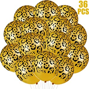 Gejoy 36 Pieces Leopard Spots Latex Balloons Cheetah Balloons Jungle Animal Balloons for Safari Zoo Animals Party Supplies Jungle Birthday Party Decorations