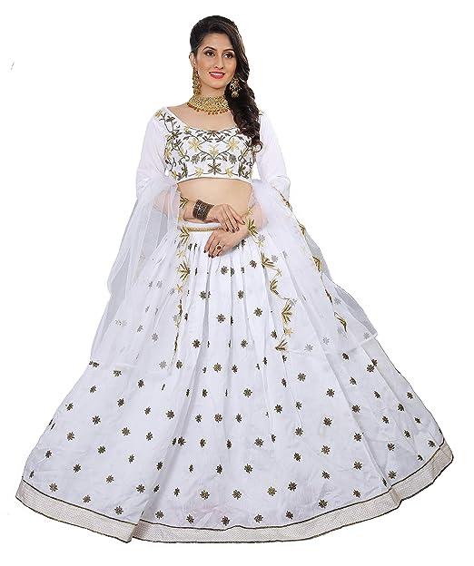6cdcb6877d saptarangi Women s Satin Bangalory Embroidered Lehenga Choli with Net  Dupatta (Off White