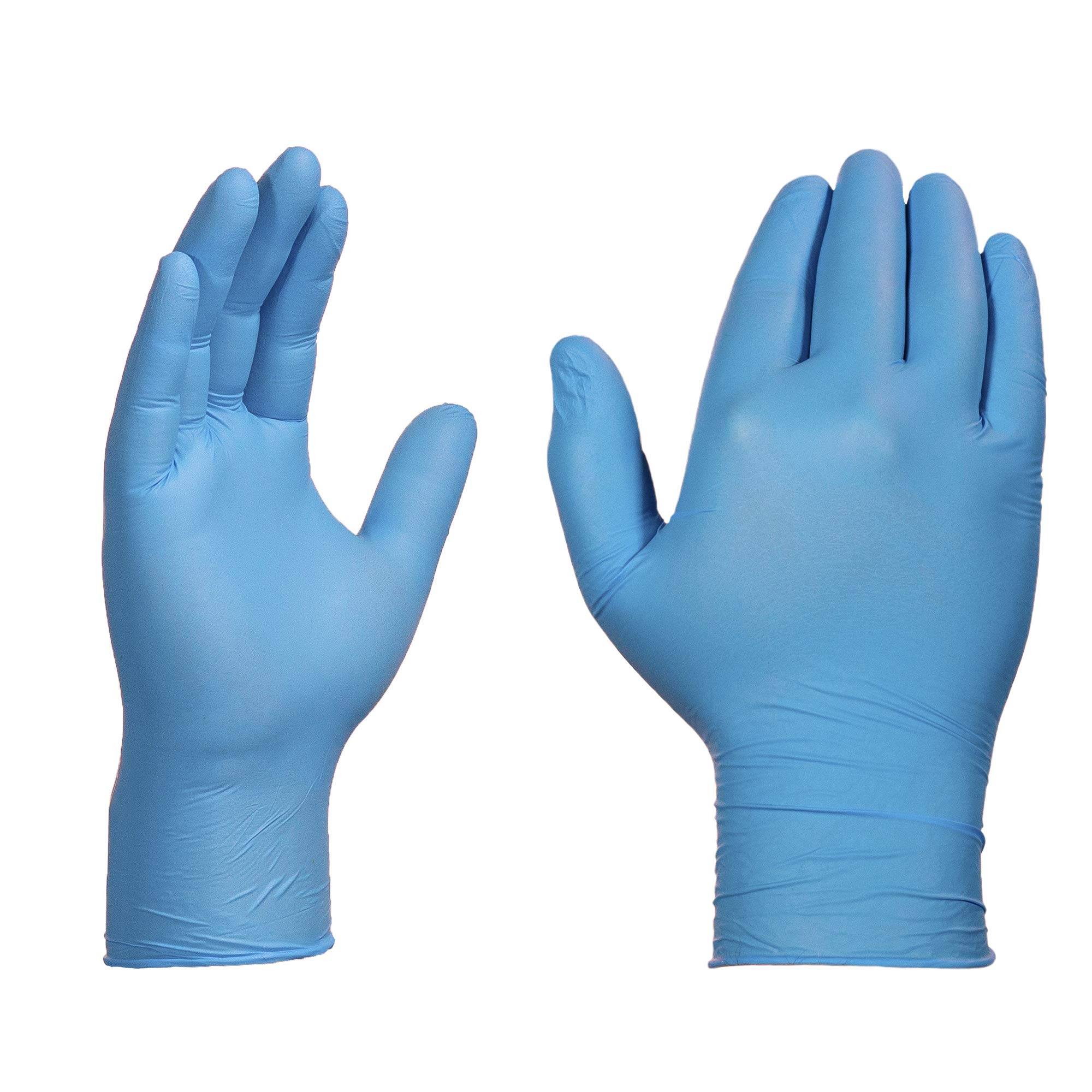 AMMEX Blue Nitrile Exam 4 Mil Disposable Gloves - Exam Grade, Powder-Free, Textured, Non-Sterile, Large, Case of 1000