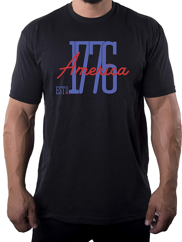 Mato & Hash America Est 1776 Patriotic T-Shirts, Men's 4th of July Shirts