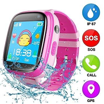 Niños Inteligente Relojes, GPS Kids SmartWatch con Camara, Flash luz, SOS, Nocturna Pantalla táctil, Reloj Inteligente Anti: Amazon.es: Electrónica