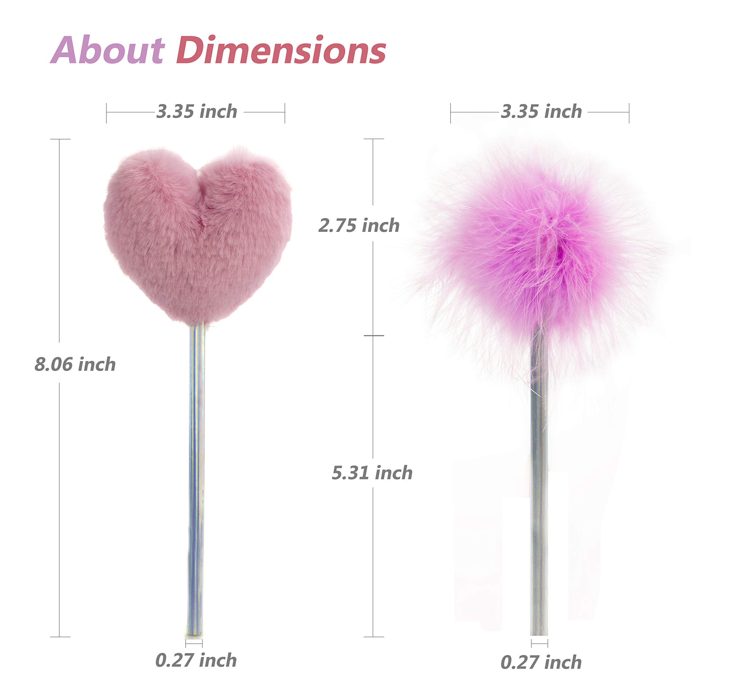 Lazyaunti Cute Fluffy Pencils for Kids Fancy Fun Pencil Toppers Plush Ball Classroom Gift PersonalizedSchoolSupplies for Girls (Purple Heart)