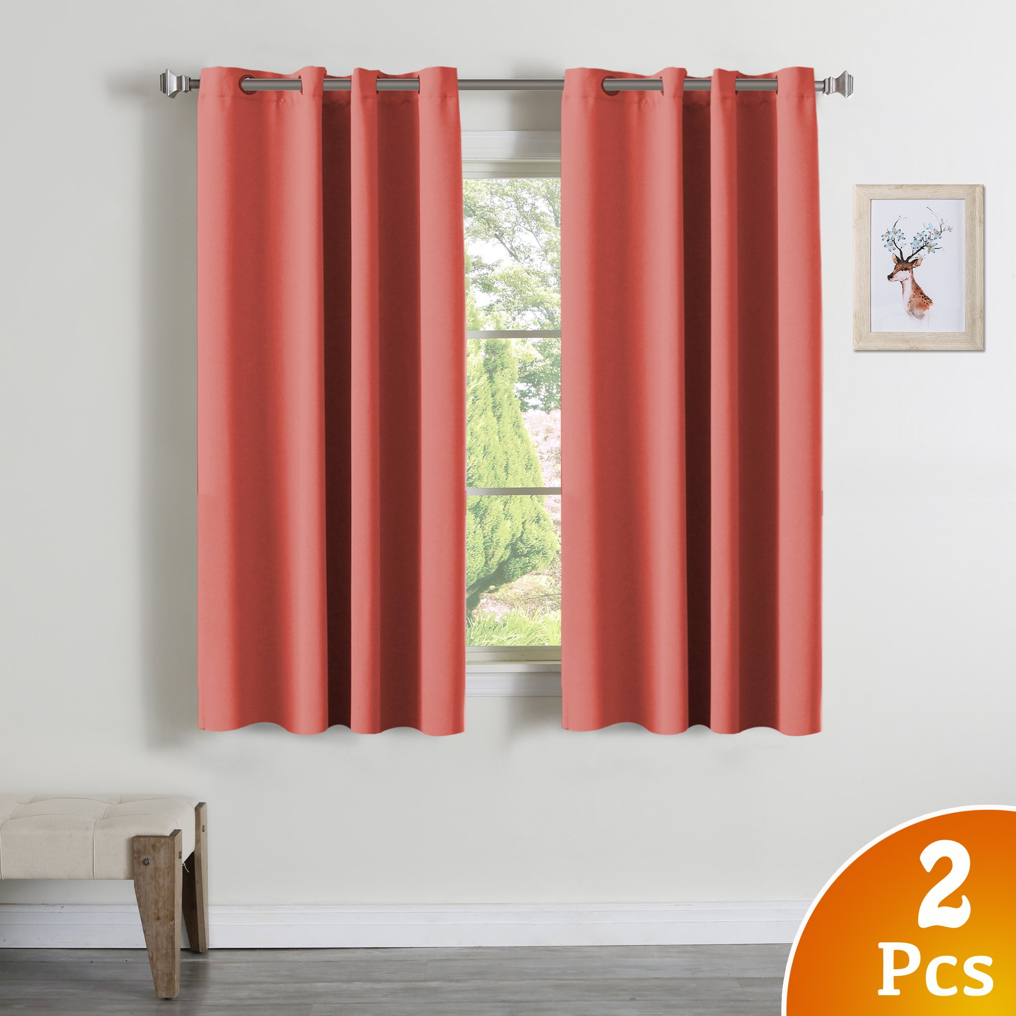 Turquoize 99% Blackout Curtains Energy Efficient Solid 2 Panels Thermal Insulated Girls Room Curtain Set, Coral Curtain Drapes, Each Panel 52'' W x 63'' L, Grommet