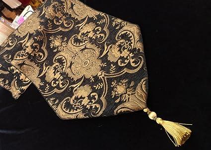 Amazoncom Luxury Damask 13 Chenille Fabriccolor Blackgold