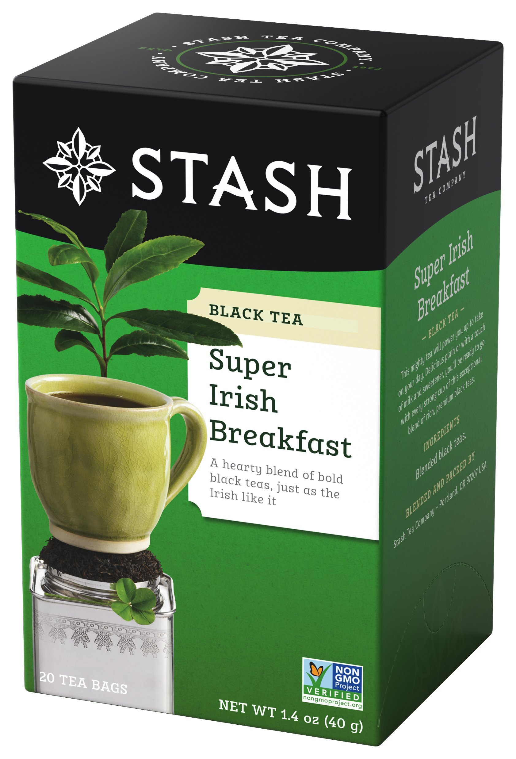 Stash Tea Super Irish Breakfast Black Tea 20 Count Tea Bags in Foil (Pack of 6) Individual Black Tea Bags for Use in Teapots Mugs or Cups, Brew Hot Tea or Iced Tea