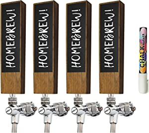 Chalkboard Beer Tap Handle (4 Pack) For Homebrew Kegerators | Beer Tap Handles White Chalk Marker Included! | The Perfect Gift for Him | THE Tap Handle to never forget which beer you crafted again!