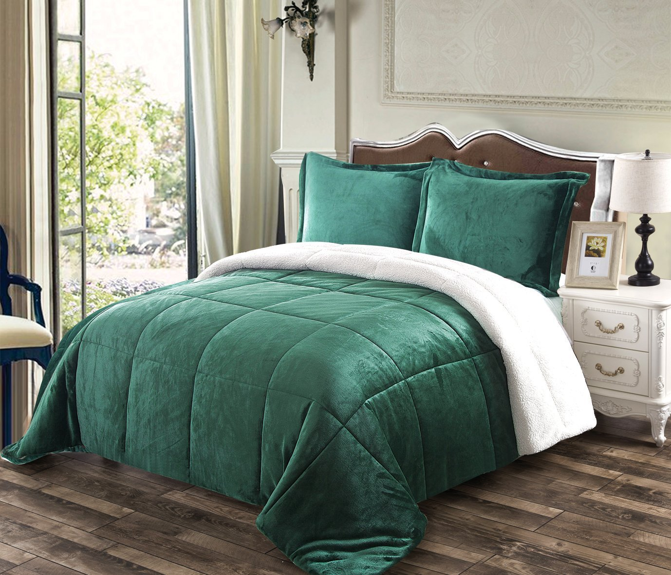 Chezmoi Collection 3-piece Micromink Sherpa Reversible Down Alternative Comforter Set (King, Hunter Green